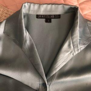 Long sleeve silk blouse